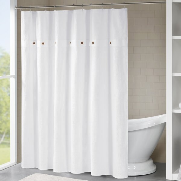 Carmella Waffle 100% Cotton Shower Curtain by Eider & Ivory